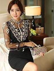 Women's Beige/Black Blouse Long Sleeve