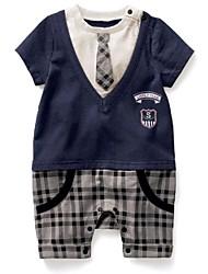 Boys Children's Gentleman Tie Vest Style Gentleman Boy Grow Short Sleeved Jumpsuits