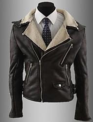 cuello de solapa abrigo de cuero delgado de la cremallera de los hombres