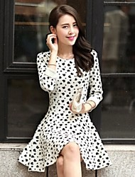 Sexylady Women's Fashion Polka Dots Pattern Long Sleeve Chiffon Dress