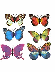 6 Pack Butterfly Shaped Fluorescent Toys for Decorative Brooches or Gift
