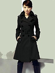 Women's Plus Size Trench Coat,Solid Long Sleeve Fall / Winter Red / Black Wool / Cotton / Others Medium