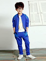 Boy's Fashion And Leisure Pure Color Sport Clothing Set
