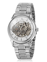 Men's Auto-Mechanical Hollow Engraving Dial Silver Steel Band Wrist Watch (Assorted Colors)