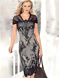 BALI Fashion Short Sleeve Floral Print Silm Causal Dress