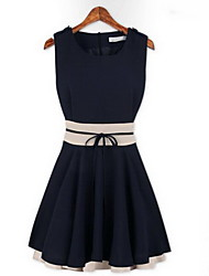 GGN Women's Contrast Color Ruffle Short Dress