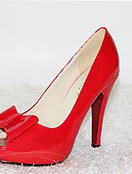 Women's Spring Summer Fall Platform Patent Leather Wedding Office & Career Dress Party & Evening Stiletto Heel Platform BowknotBlack Blue