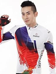 Camisa para Ciclismo Homens Manga Comprida MotoTérmico/Quente Secagem Rápida Resistente Raios Ultravioleta Zíper Frontal Á Prova-de-Pó