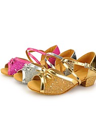 "Kids' Latin Paillette Sandals Sequin Buckle Low Heel Silver Gold Fuchsia 1"" - 1 3/4"""