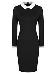Women's Vintage Lapel Hit Color Long-sleeved Slim Fit Pencil Dress