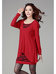 Aiduozi Fashion Two Pieces Long Sleeve Stripes Cotton Dress_Red