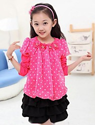 Girl's Fashion Lovely Roses Neck Chiffon Puff Sleeve T Shirt