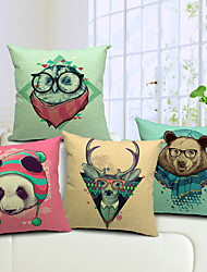 Set of 4 Country Lovely Animal Cotton/Linen Decorative Pillow Cover