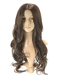 Capless Beautiful Long Wavy Dark Brown  Wigs Side Bang