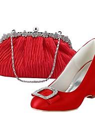 Damenschuhe Spitzschuh Keilabsatz Satin pumpt Schuhe passenden Satin-Abendtasche