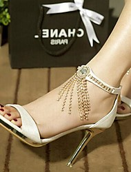 Women's Spring Summer Fall Leatherette Wedding Office & Career Dress Casual Party & Evening Stiletto Heel Crystal Tassel Black Brown White
