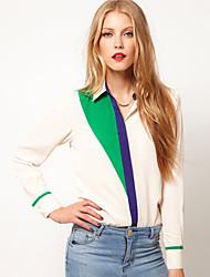 t-girl Chiffon Kontrastfarbe Revers Langarm-Shirt