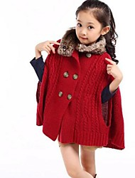 Girl's Red Sweater & Cardigan / Jacket & Coat,Solid Wool / Polyester / Knitwear Winter