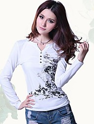 Women's Ethnic Ink Printing V-Neck Long Sleeved T Shirt