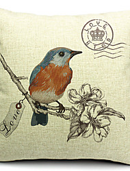 Country Bird and Flowers Cotton/Linen Decorative Pillow Cover