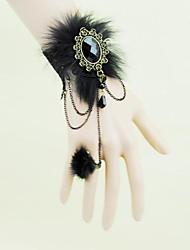 Lewen vampiro gótico renda preta pulseira de leopardo das mulheres com um anel de uma cadeia
