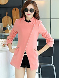 Women's Fashion Casual Jacket Trend European Style Oblique Zipper Woolen Coat Outerwear