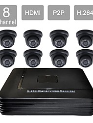 8 Channel HDMI CCTV DVR 8 Indoor Vision Security Camera System Kit 8813CA08V