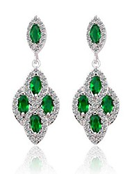 Brass Vermeil Plated With Cubic Zirconia Emerald Green Droping Earrings
