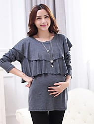 Maternity Casual Round Collar Ruffled Solid Color Long Sleeve Blouse