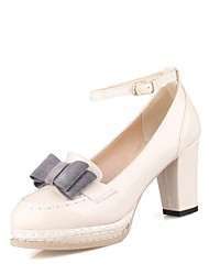 Women's Shoes Platform Chunky Heel Patent Leather Pumps Shoes with Bowknot More Colors available