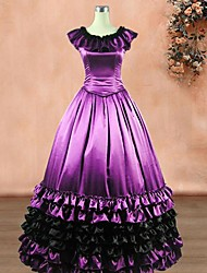 One-Piece/Dress Classic/Traditional Lolita Vintage Inspired Cosplay Lolita Dress Purple / Black Vintage Sleeveless Long Length Dress For