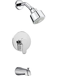 "Contemporary Chrome Wall Mount Rain Single Handle Brass Shower Faucet with 2.60"" Showerhead and Faucet Tap"