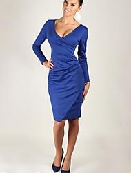Women's V Neck Pleated Waist Bodycon Dress
