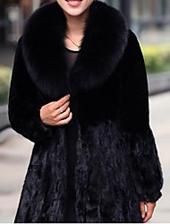 Skymoto®Women's Plus Size Long Sleeve Faux Rabbit Fur Fox Fur Collar Casual Coat