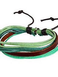 Fashion Weave Man-made 20cm Unisex Multicolor Leather Leather Bracelet(Coffee,Purple,Green)(1 Pc)