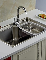 L27.6 Inch Single Bowl 304 Stainless Steel Kitchen Sink Set with Drain Rack