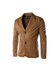 chaqueta de cuero delgado coreano de la PU 2 Botón juego del ocio