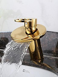 Ti-PVD Finish Solid Brass Waterfall Golden Bathroom Sink Faucet