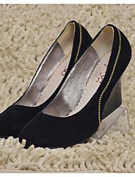 zapatos de las mujeres de las bombas del dedo del pie zapatos de tacón de cuña redonda más colores disponibles