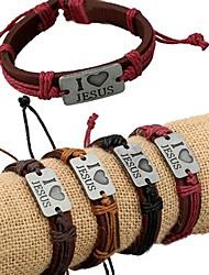I Love Jesus Alloy Decorative Leather Bracelet
