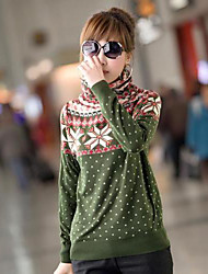 Women's Set Of Qiu Dong Han Edition Jacquard Pile Of Pile Head Collar Knitting Backing Turtleneck Sweater Upset Sweaters