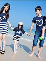 Family's Round Collar Stripe Stitching Short Sleeve Tees&Dress(Print Random)