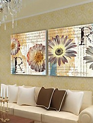 Stretched Canvas Print Art Vintage Posters Flower Set of 2