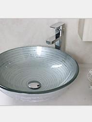 серебро круговой закаленное раковины стеклянный сосуд со смесителем набор