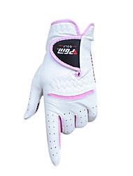 PGM Women's Cabretta Leather White+Pink 1 Pair Anti-Slip Full Finger Golf Gloves
