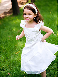 A-line Ankle-length Flower Girl Dress - Polyester Scoop with Lace