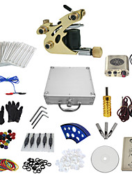 1 Gun Complete No Ink Tattoo Kit with Golden Tatoo Machine For Shader and Golden Engraved Power Supply