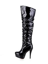 botas sapatos qq forma do salto stiletto couro das mulheres meados de bezerro mais cores disponíveis