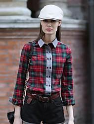 Veri Gude® Women's Turn-Down Collar Street Wear Contrast Color Plaid Shirt
