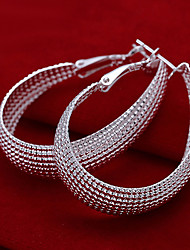Vivid Women's Net Silver Plate Earrings